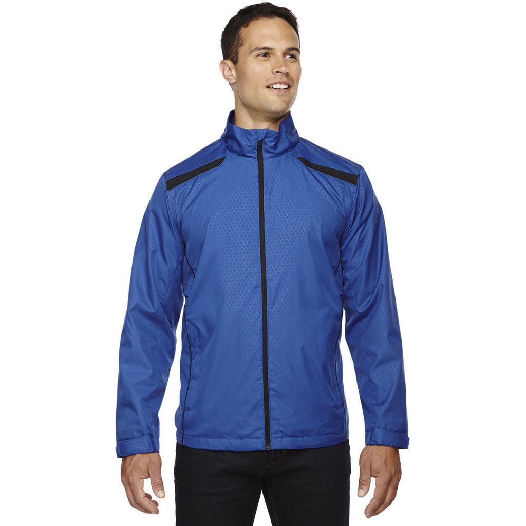 North End Men's Nautical Blue Tempo Lightweight Jacket with Embossed Print