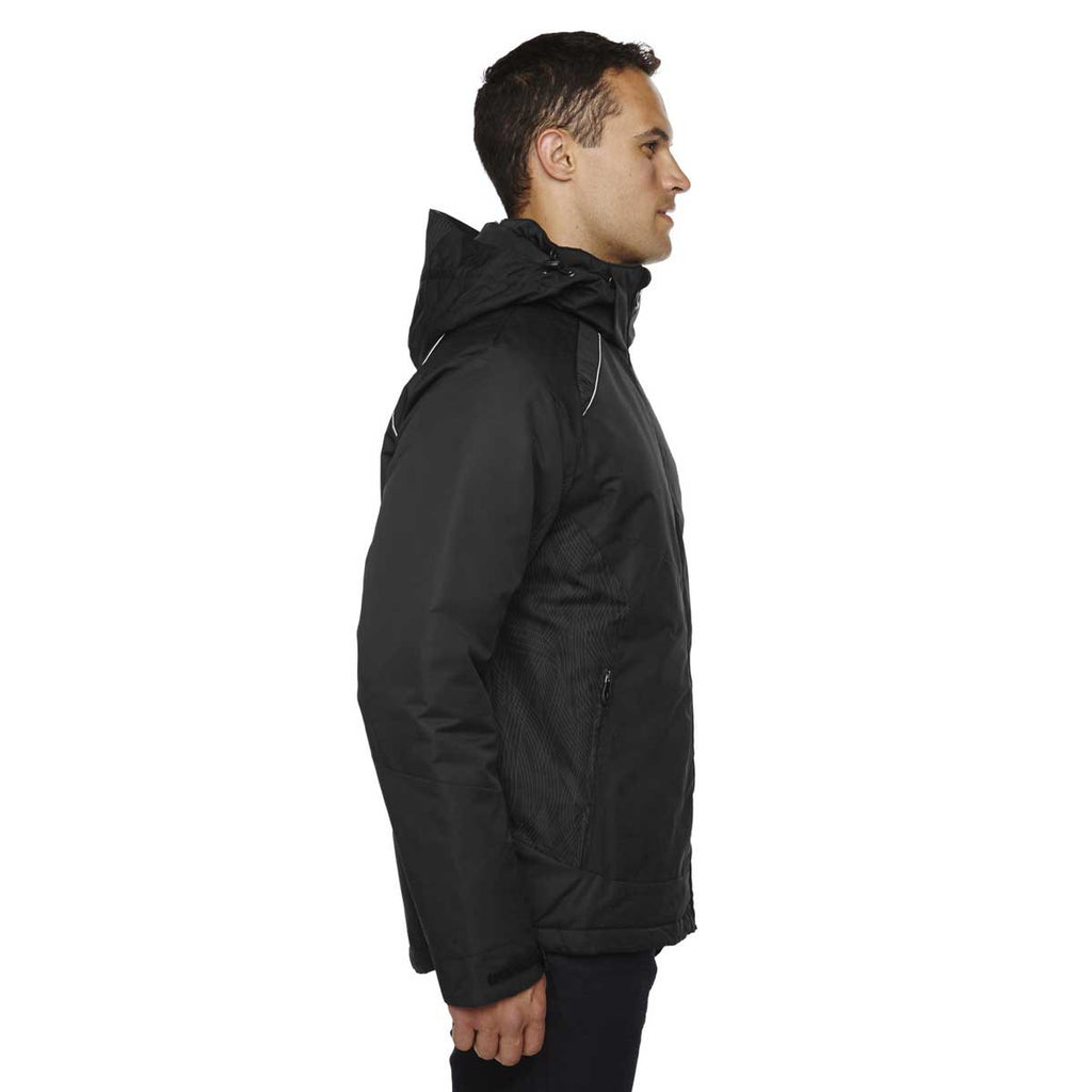 North End Men's Black Linear Insulated Jacket with Print