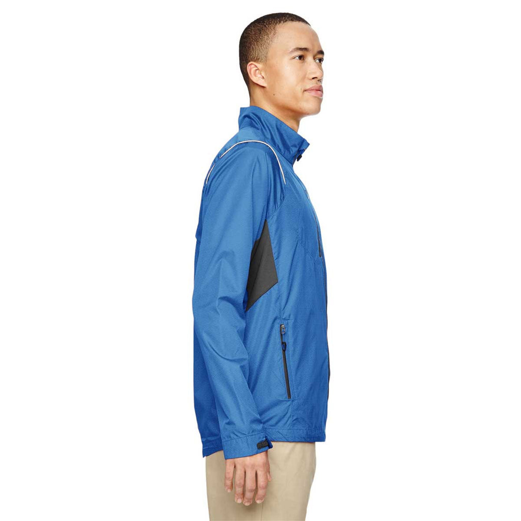 North End Men's Nautical Blue Sustain Lightweight Dobby Jacket with Print
