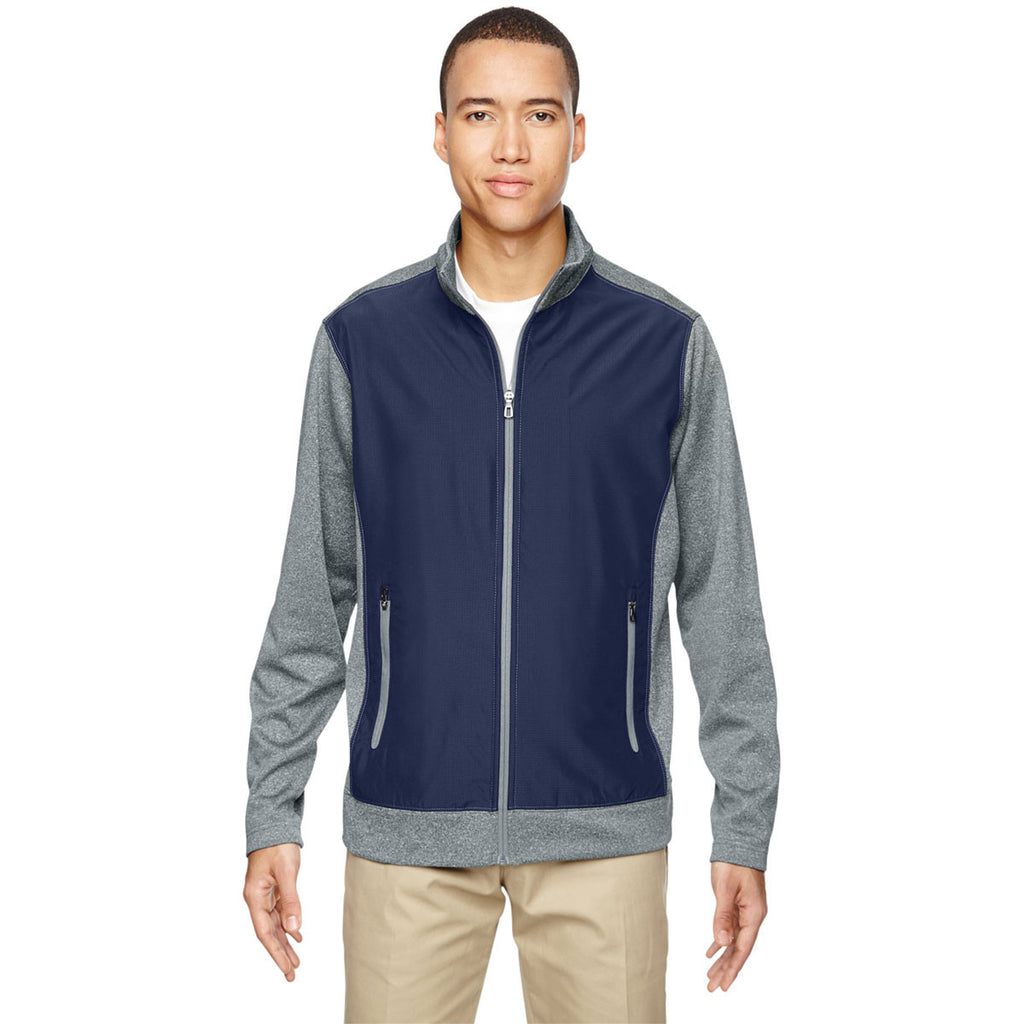 North End Men's Classic Navy Victory Hybrid Performance Fleece Jacket
