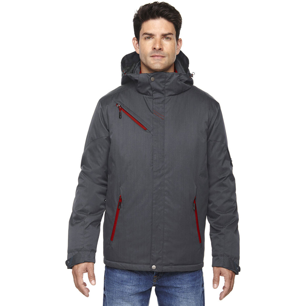 North End Men's Carbon/Classic Red Rivet Textured Twill Insulated Jacket