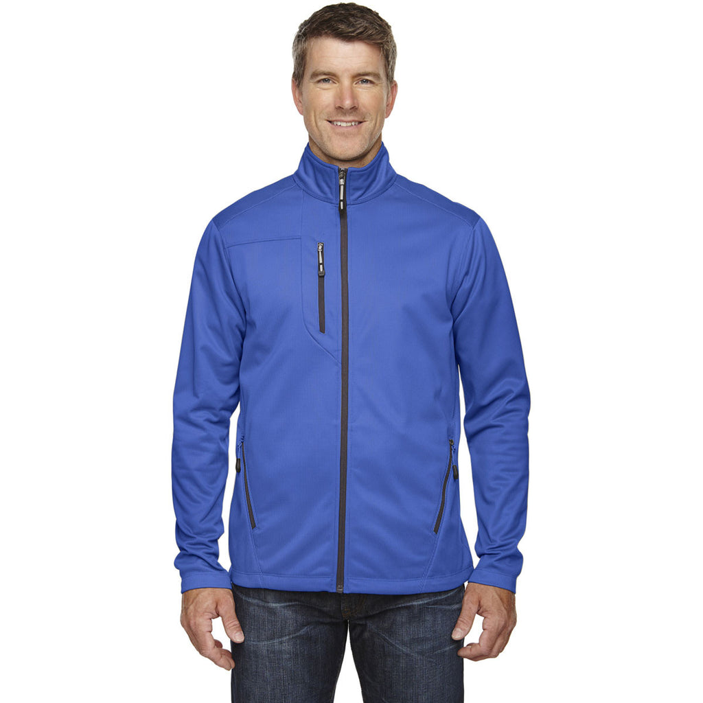North End Men's Nautical Blue Trace Printed Fleece Jacket