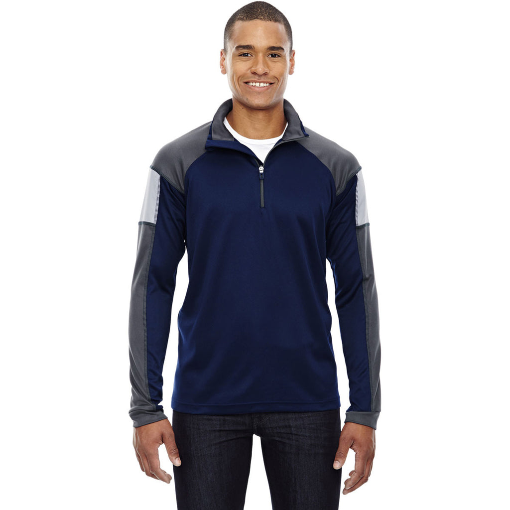 North End Men's Classic Navy Quick Performance Interlock Half-Zip Top