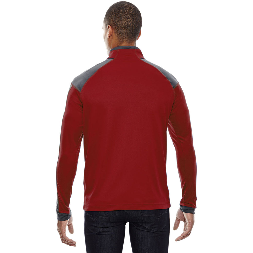 North End Men's Classic Red Quick Performance Interlock Half-Zip Top