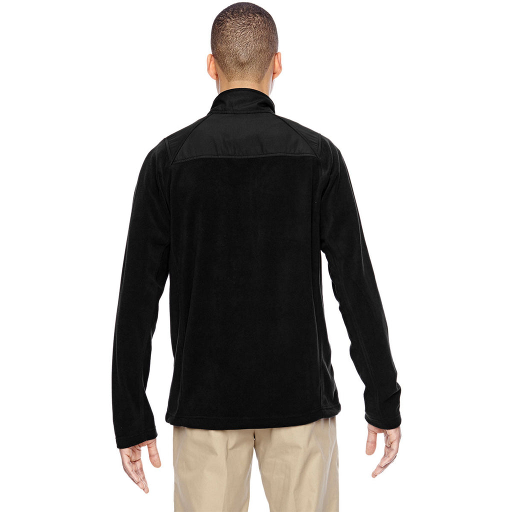 North End Men's Black Excursion Trail Fabric-Block Fleece Jacket