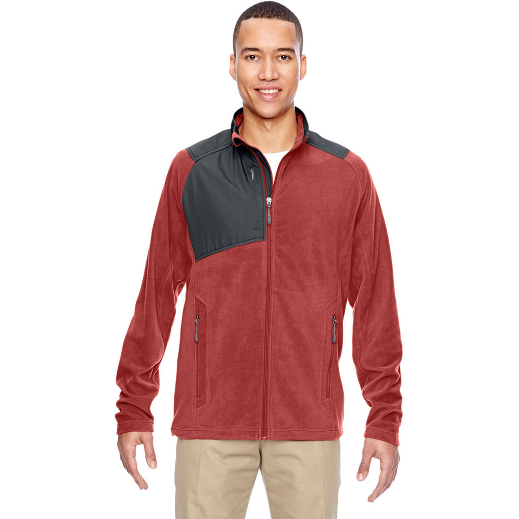 North End Men's Rust Excursion Trail Fabric-Block Fleece Jacket