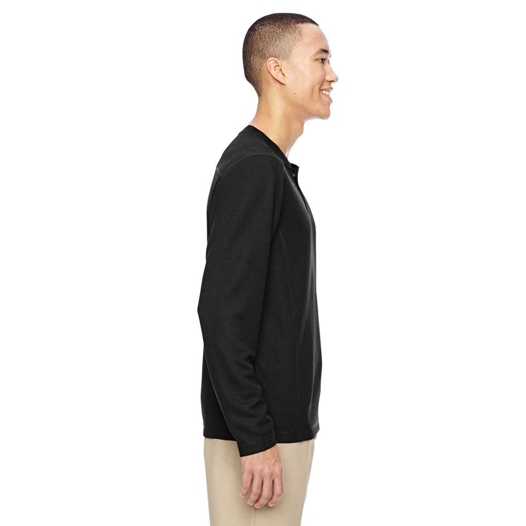 North End Men's Black Excursion Nomad Performance Waffle Henley