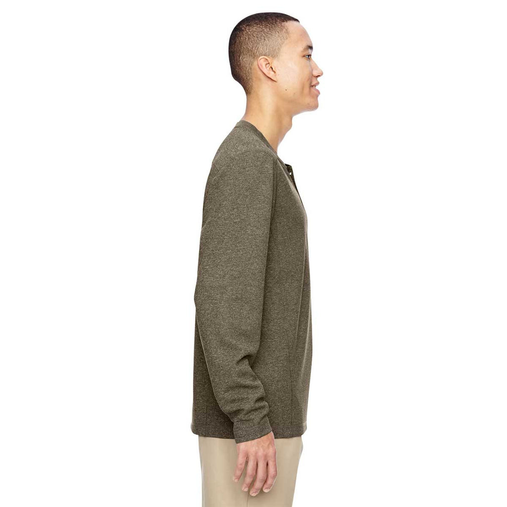 North End Men's Dark Oakmoss Excursion Nomad Performance Waffle Henley