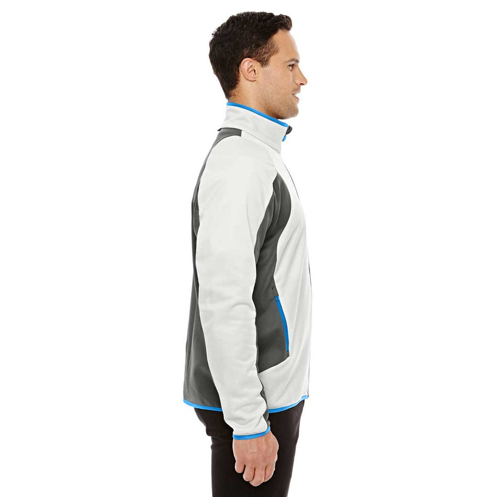 North End Men's Crystal Quartz/Dark Graphite Colorblock Performance Fleece Jacket
