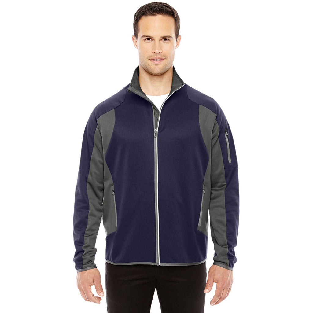North End Men's Navy/Dark Graphite Colorblock Performance Fleece Jacket