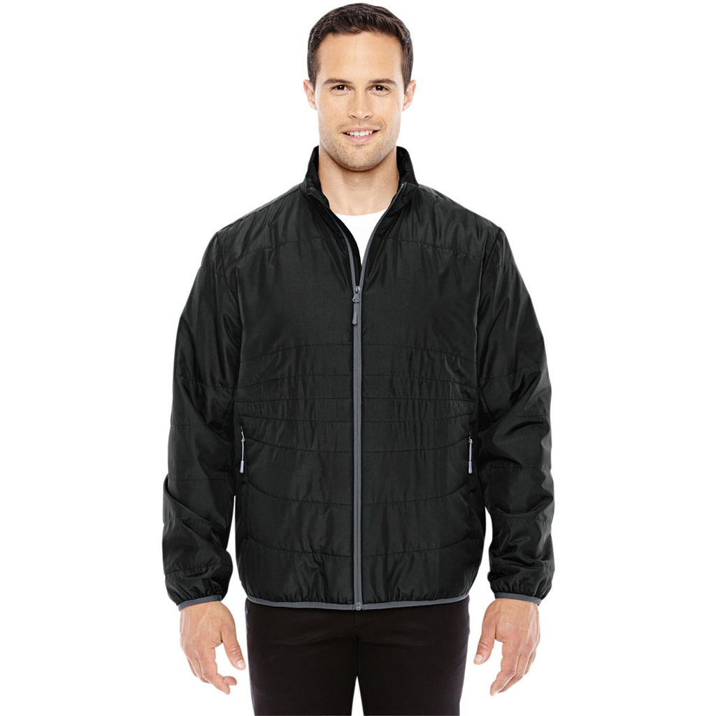 North End Men's Black/Graphite Resolve Interactive Insulated Packable Jacket