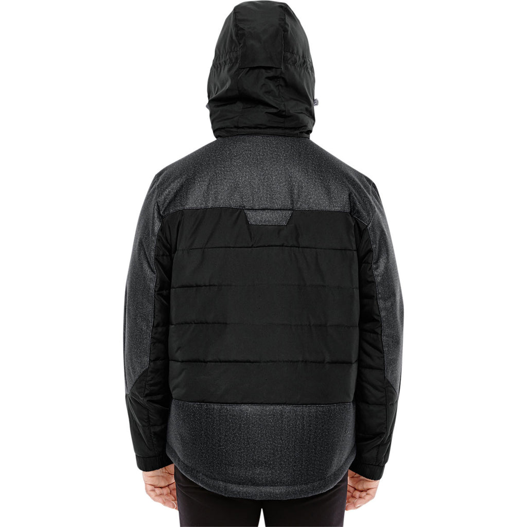 North End Men's Black/Dark Graphite Heather Insulated Jacket with Melange Print