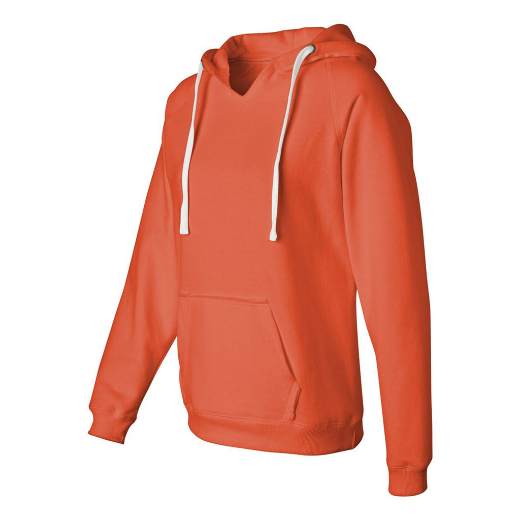 J. America Women's Neon Orange Sueded V-Neck Hooded Sweatshirt