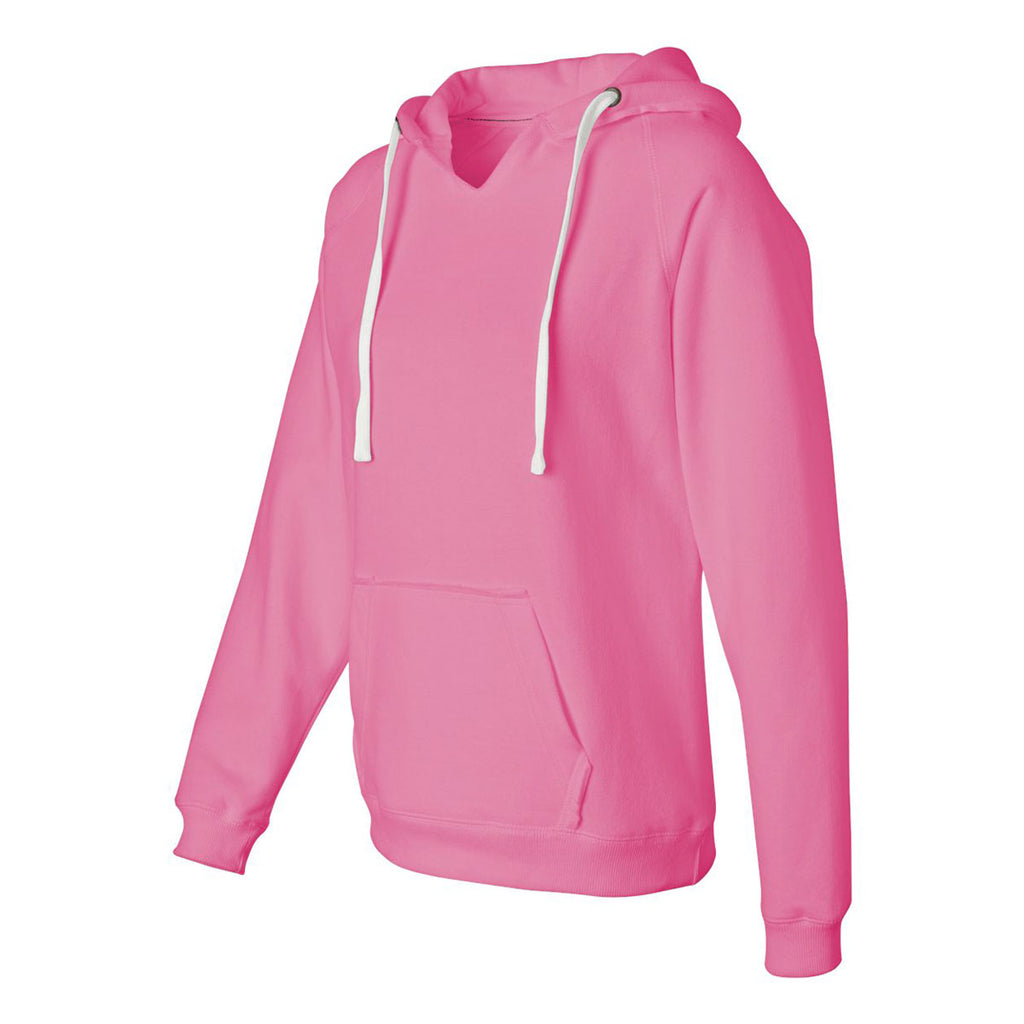 f350d7c2f J. America Women's Neon Pink Sueded V-Neck Hooded Sweatshirt