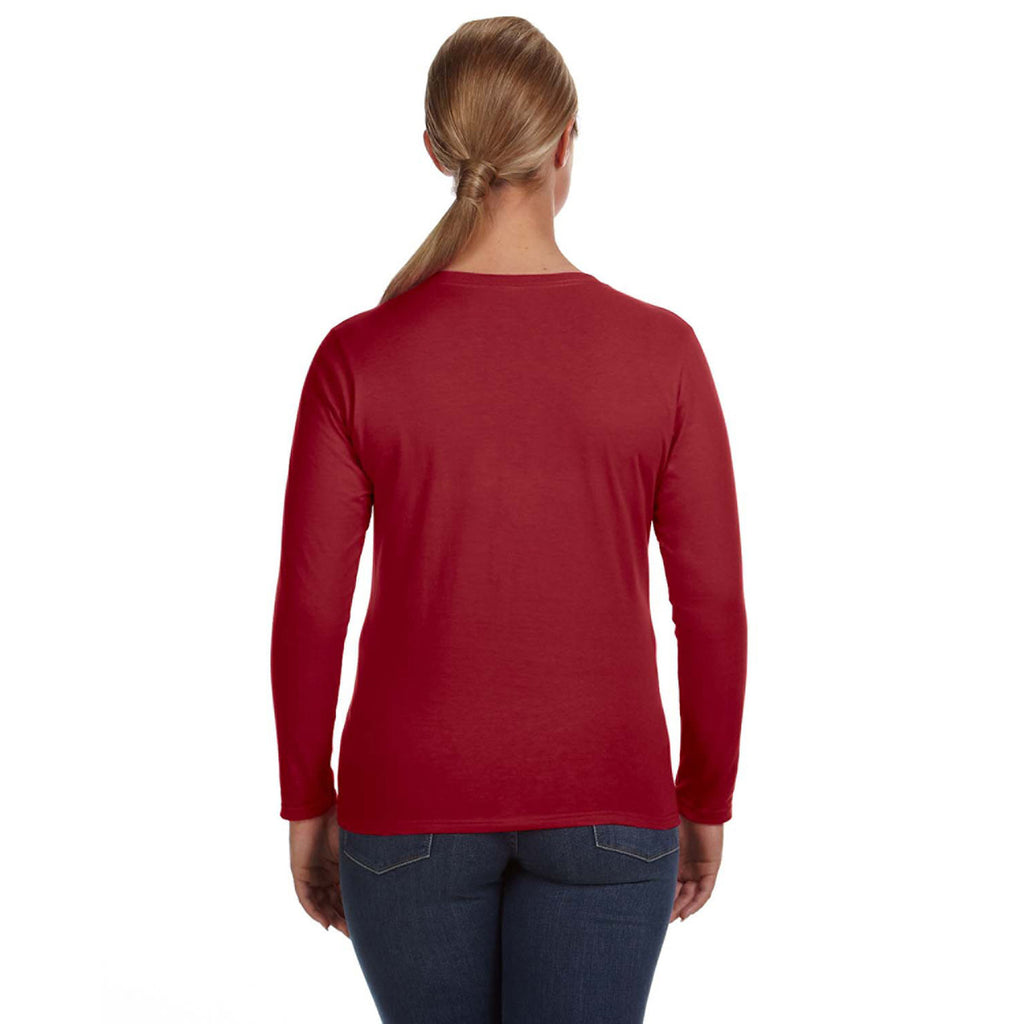 Anvil Women's Independence Red Lightweight Long-Sleeve T-Shirt