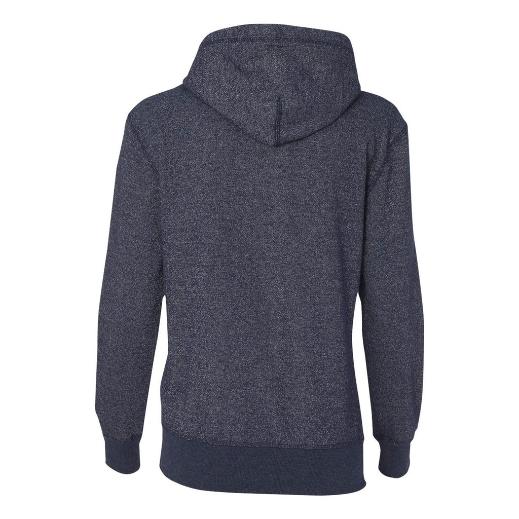 J. America Women's Navy/Silver Glitter French Terry Hooded Pullover