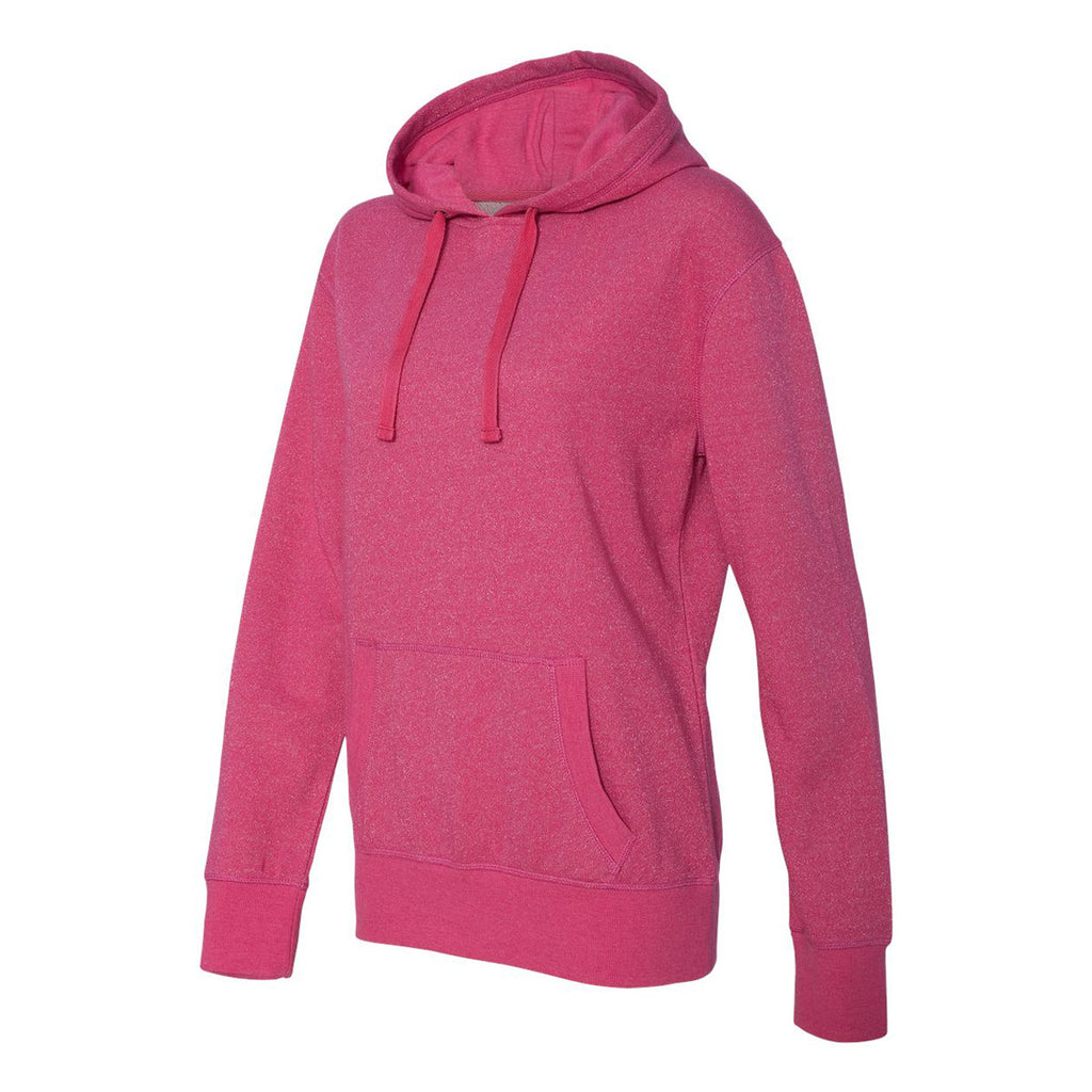 J. America Women's Wildberry/Silver Glitter French Terry Hooded Pullover