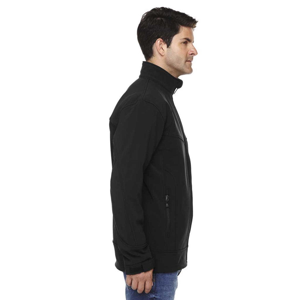 North End Men's Black Three-Layer Soft Shell Jacket