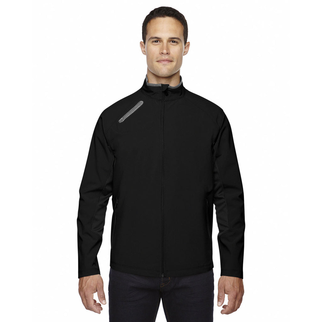 North End Men's Black Three-Layer Light Bonded Soft Shell Jacket