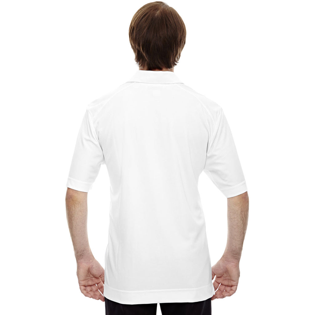 North End Men's White Recycled Polyester Performance Pique Polo