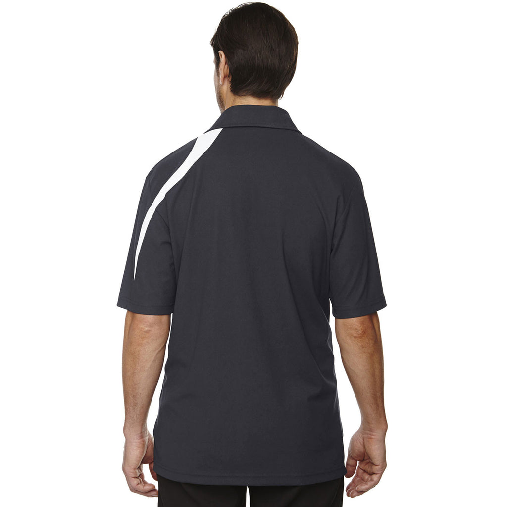 North End Men's Black Silk Impact Performance Polyester Pique Colorblock Polo