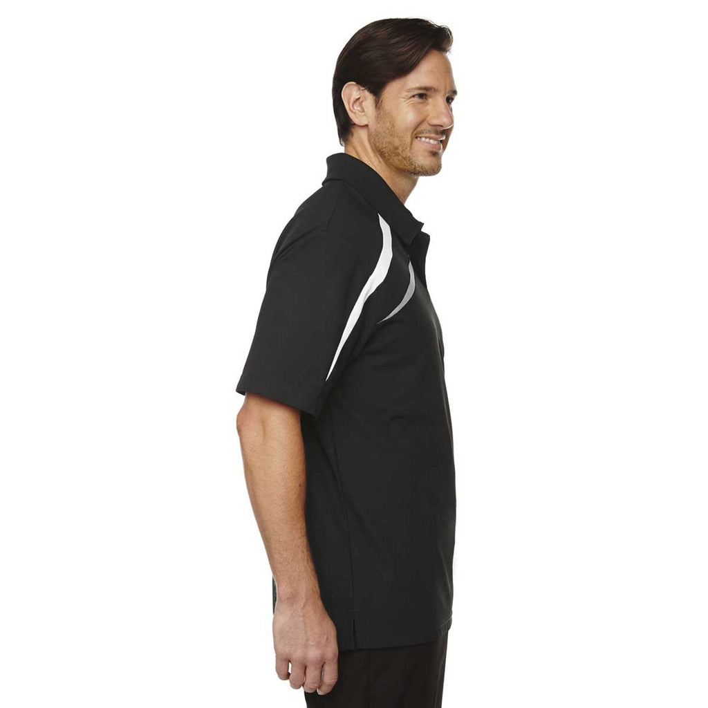 North End Men's Black Impact Performance Polyester Pique Colorblock Polo