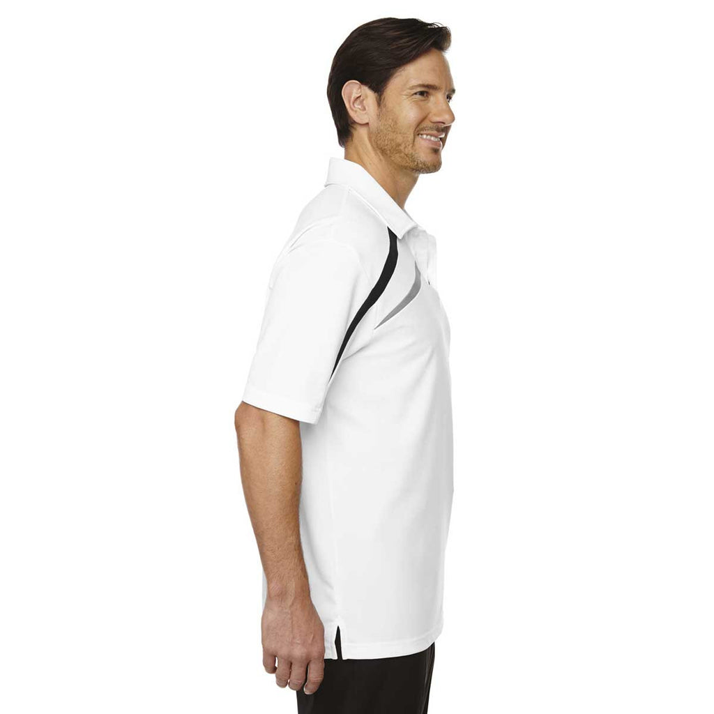 North End Men's White Impact Performance Polyester Pique Colorblock Polo