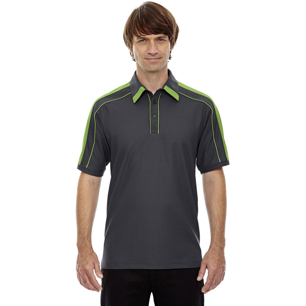 North End Men's Black Silk/Acid Green Sonic Performance Polyester Piqué Polo