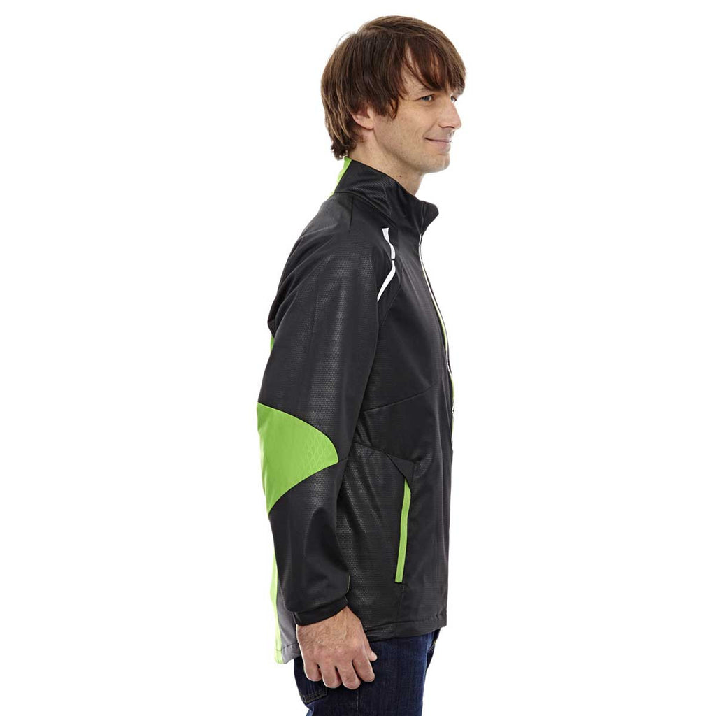 North End Men's Black/Acid Green Lightweight Bonded Performance Hybrid Jacket