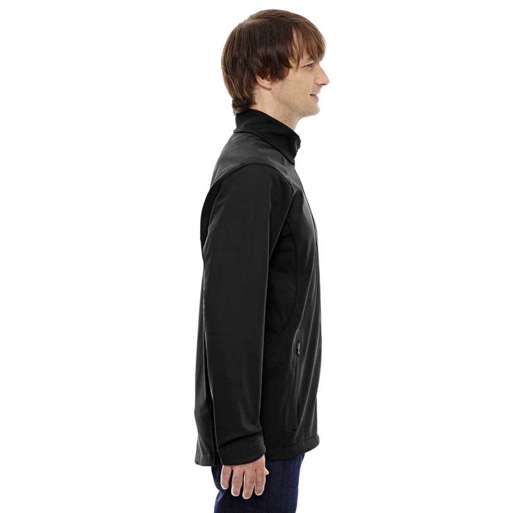 North End Men's Black Three-Layer Soft Shell Jacket with Laser Welding