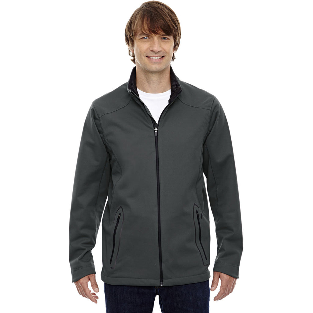 North End Men's Graphite Three-Layer Soft Shell Jacket with Laser Welding