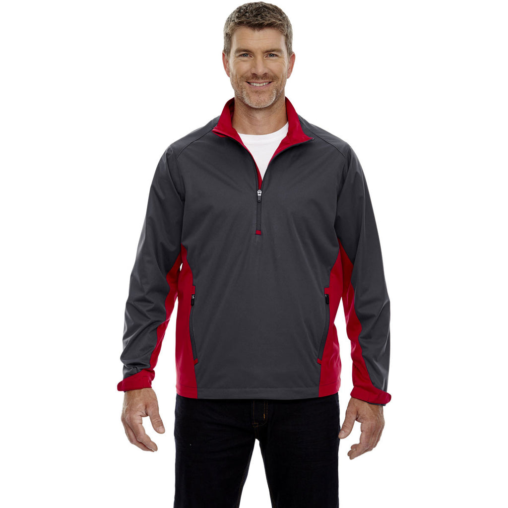 North End Men's Black Silk Performance Stretch Wind Shirt