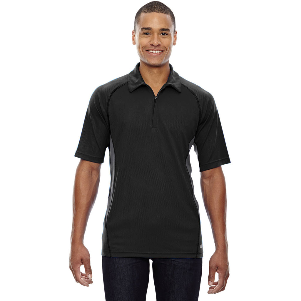 North End Men's Black Serac UTK Performance Zippered Polo