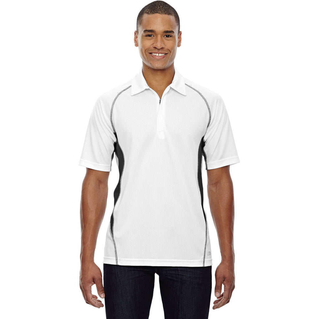 North End Men's White Serac UTK Performance Zippered Polo
