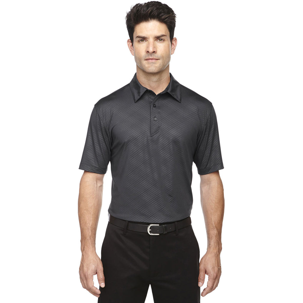 North End Men's Black Silk Maze Performance Stretch Embossed Print Polo