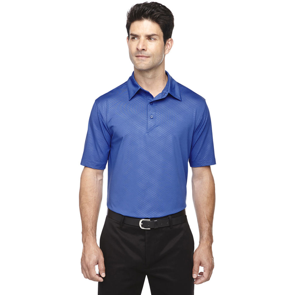 North End Men's Nautical Blue Maze Performance Stretch Embossed Print Polo