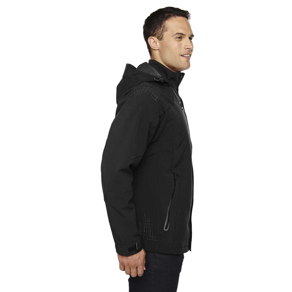 North End Men's Black Axis Soft Shell Jacket with Print Graphic Accents