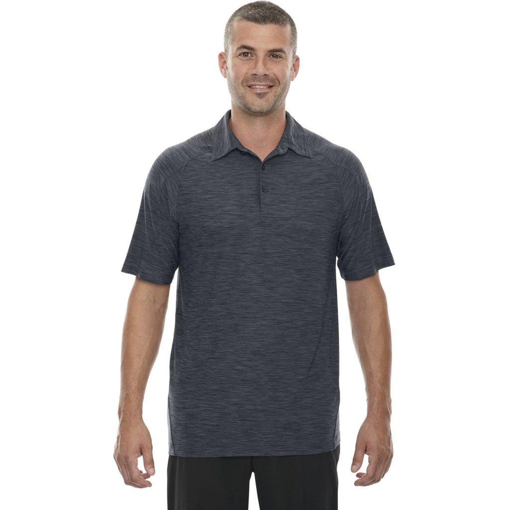 North End Men's Carbon Barcode Performance Stretch Polo