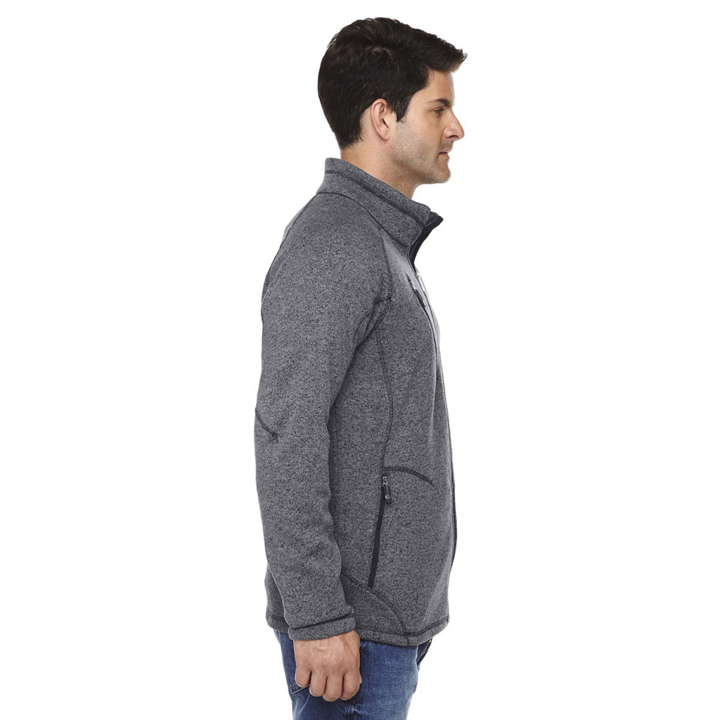 North End Men's Heather Charcoal Peak Sweater Fleece Jacket