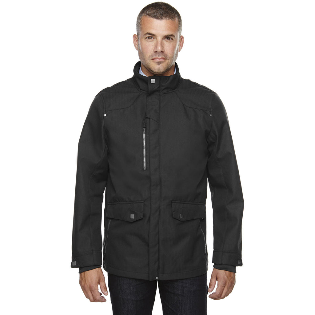 North End Men's Black Three-Layer City Textured Soft Shell Jacket