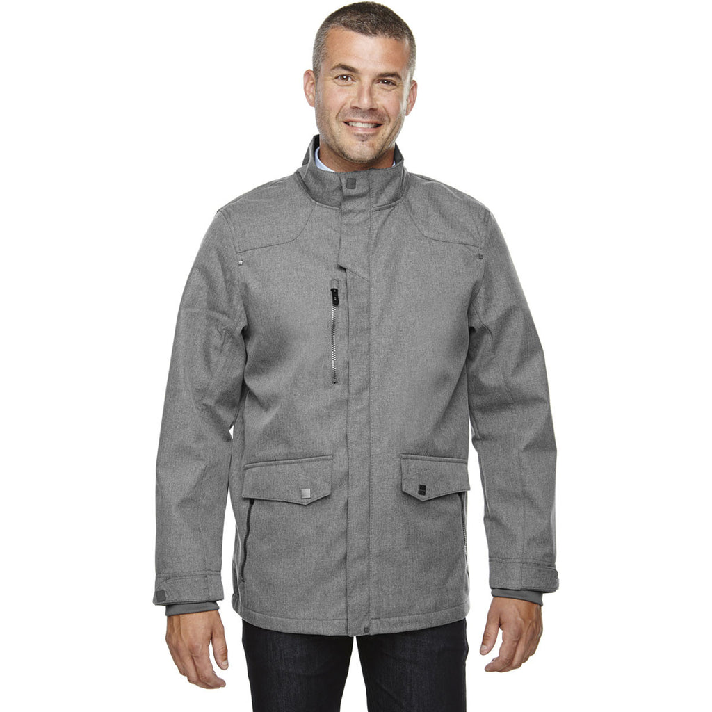 North End Men's City Grey Three-Layer City Textured Soft Shell Jacket