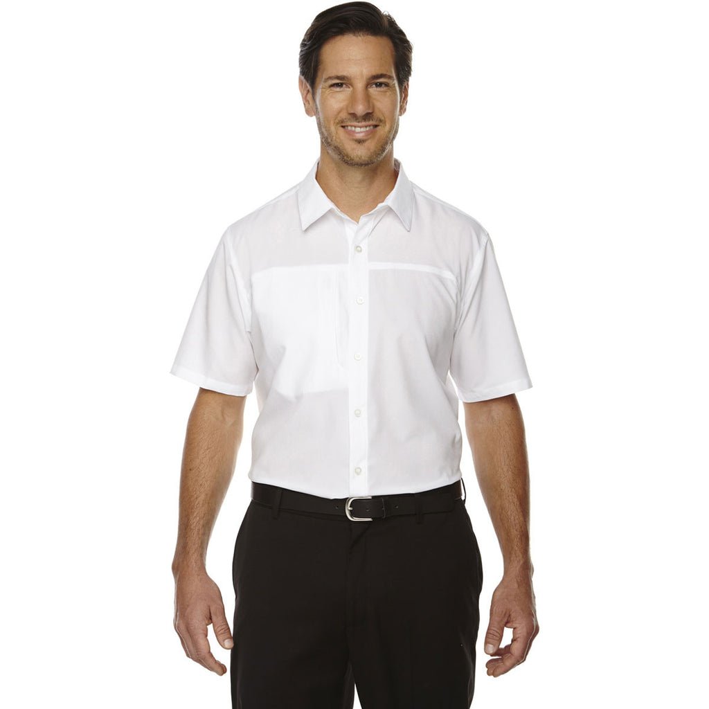 North End Men's White Polyester Performance Short-Sleeve Shirt