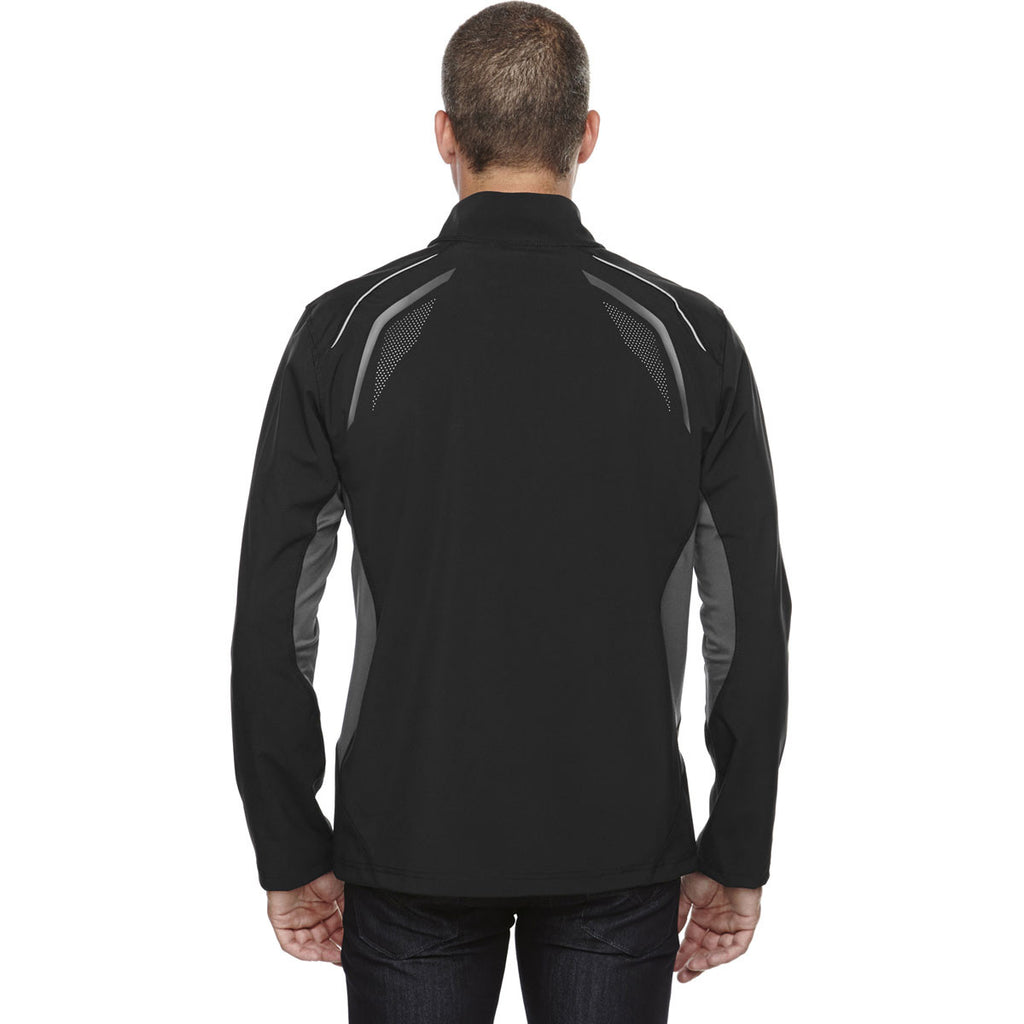 North End Men's Black Soft Shell Jacket with Laser Perforation