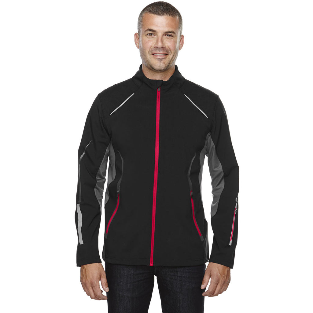 North End Men's Black/Olympic Red Soft Shell Jacket with Laser Perforation