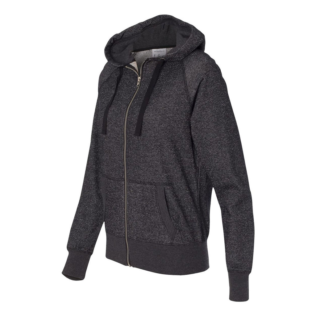 America 8868 Women/'s Glitter French Terry Hooded Full-Zip Sweatshirt J