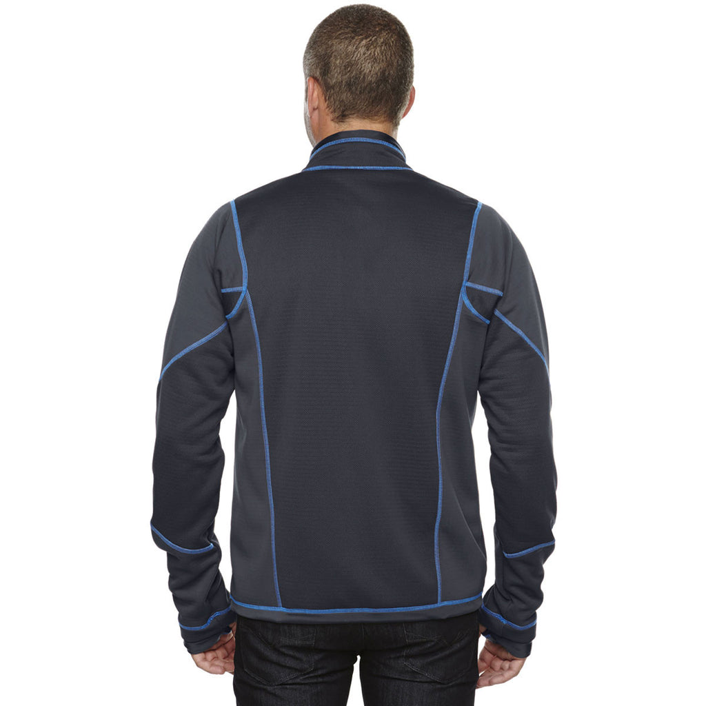 North End Men's Carbon/Olympic Blue Fleece Jacket with Print