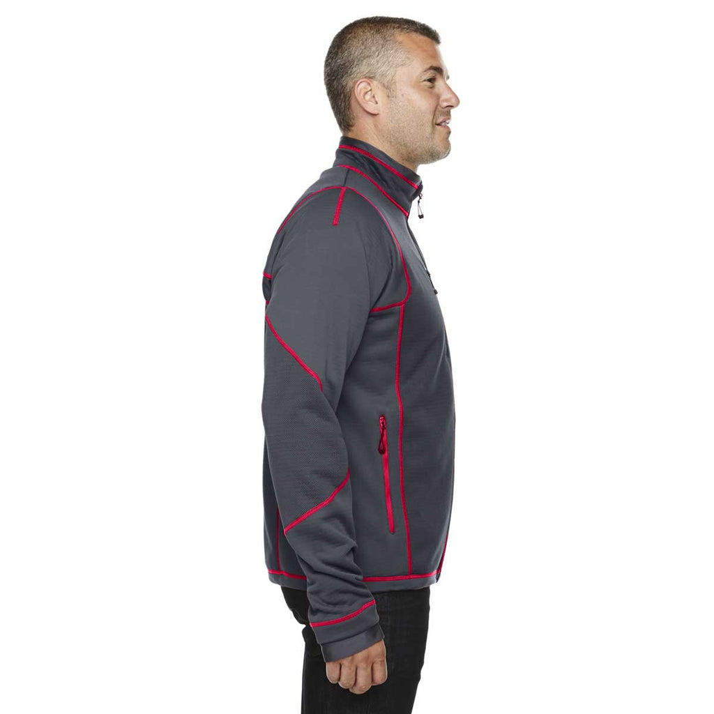 North End Men's Carbon/Olympic Red Fleece Jacket with Print