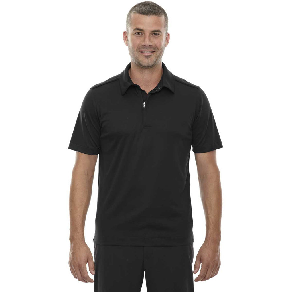 North End Men's Black Evap Quick Dry Performance Polo