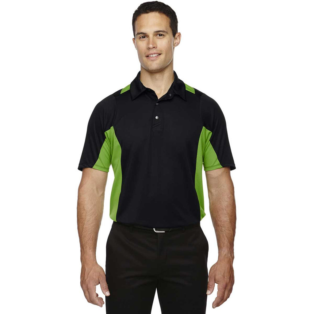 North End Men's Black/Acid Green Rotate Quick Dry Performance Polo