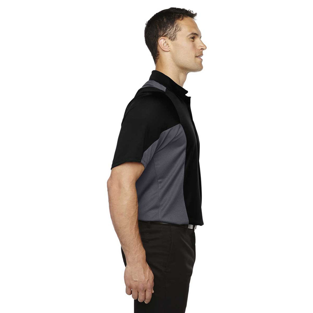 North End Men's Black Rotate Quick Dry Performance Polo